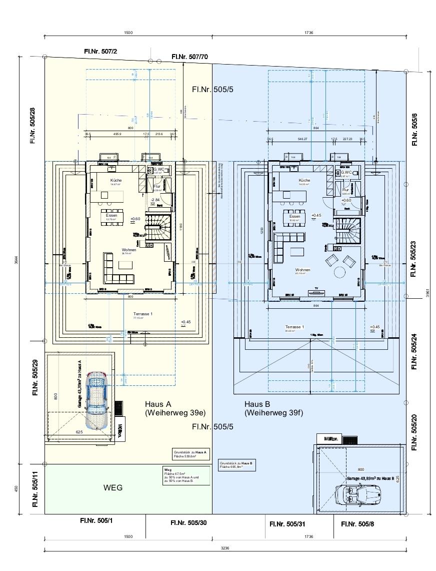 Aufteilungsplan Grundstück 1+2