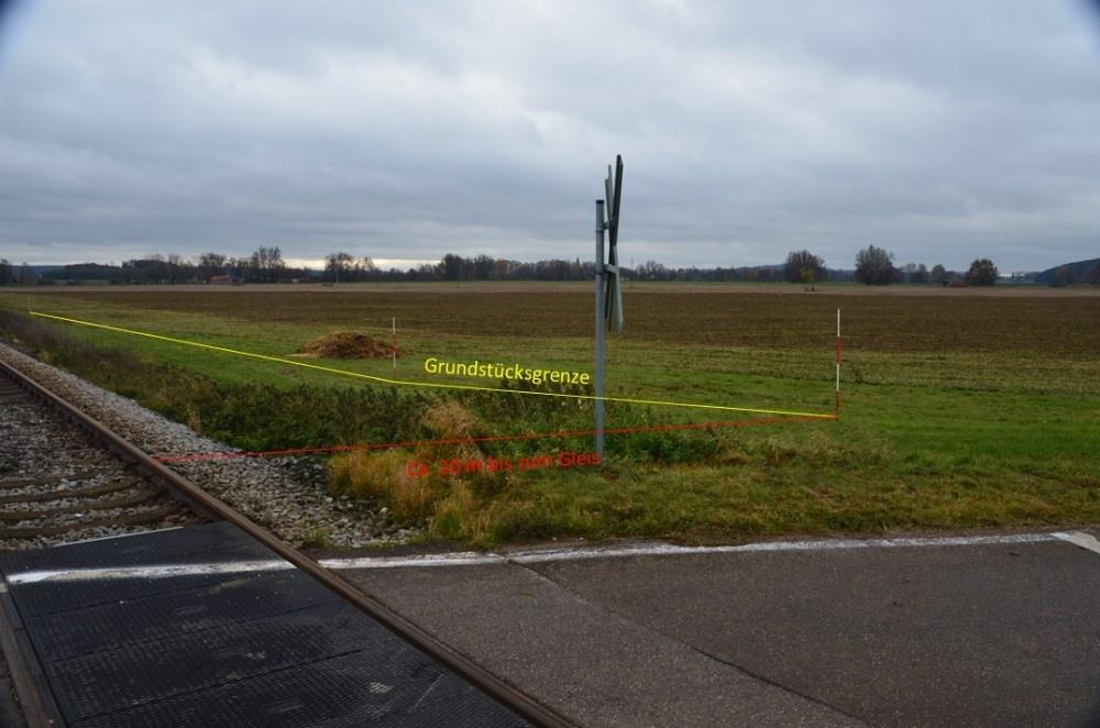 Grundstücksgrenze mit Gleisabstand