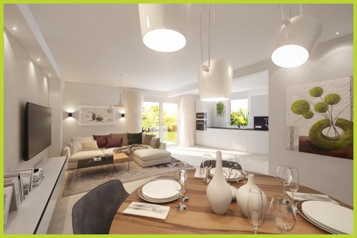 Küche Wohn- Essbereich virtuell eingerichtet