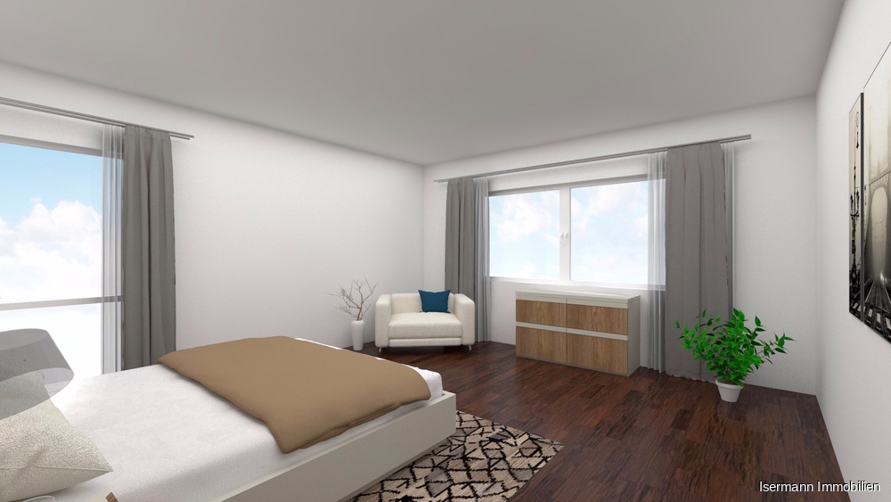 Das großzügige Schlafzimmer - bei Bedarf mit separater Ankleide.