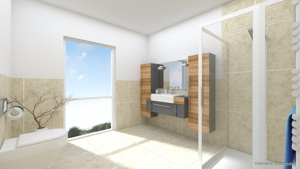 Das Tageslichtbad ist mit einer Dusche und Handtuchwärmekörper ausgestattet.