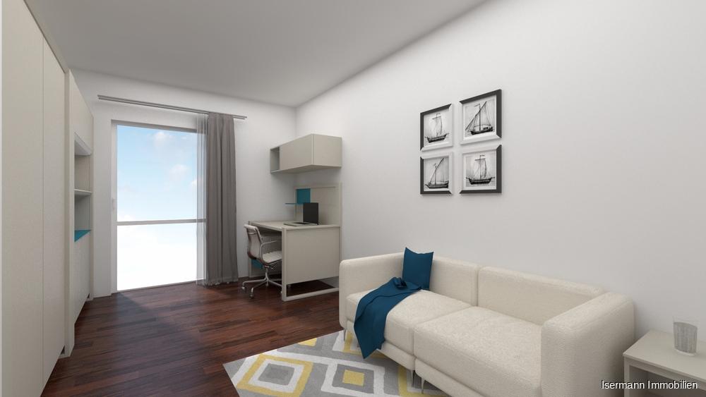 Das zweite Schlafzimmer kann sowohl als Büro oder Kinderzimmer genutzt werden.