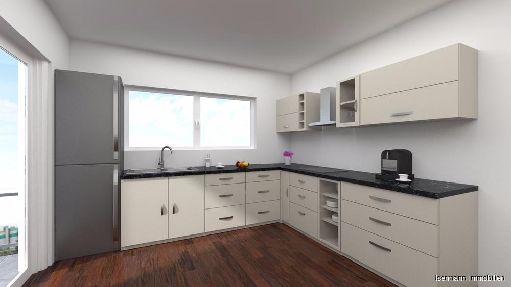 Auf Wunsch lässt sich die Küche vom Wohn-/Essbereich trennen.
