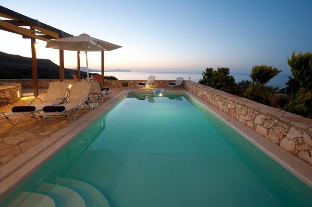 pool and sea at night