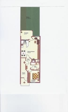 2 ZKB-ca.60 m²Terrasse-kle. Garten-ca.78 m²-EG