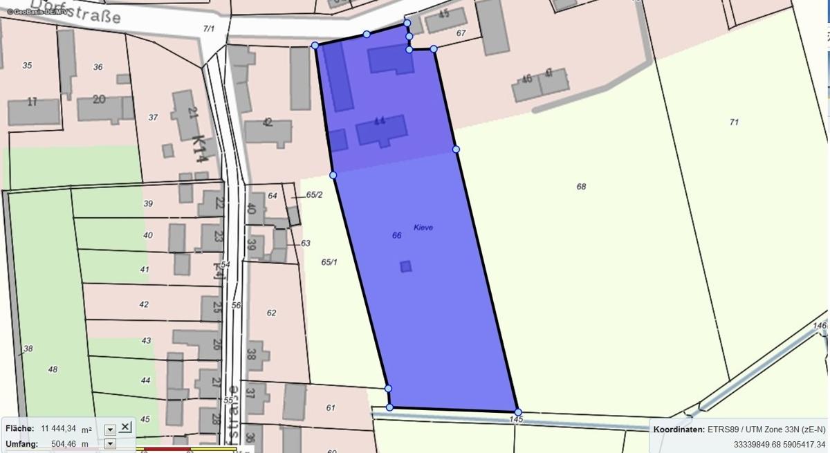 Lageplan mit Grundstücksgröße