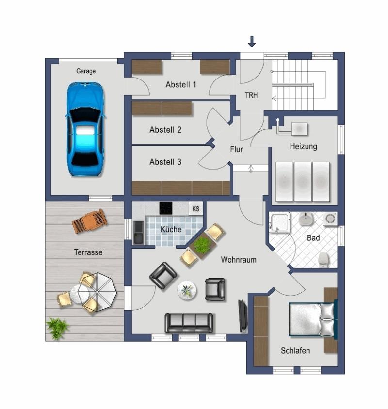2-Zimmer mit überdachter Terasse