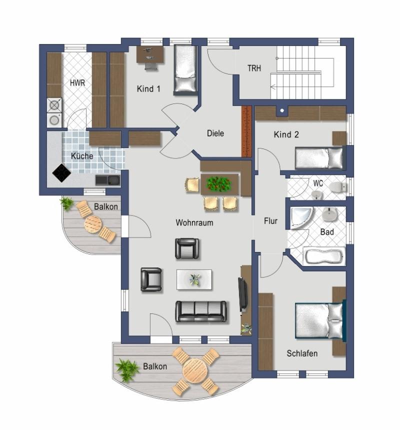 4-Zimmer mit zwei Balkonen