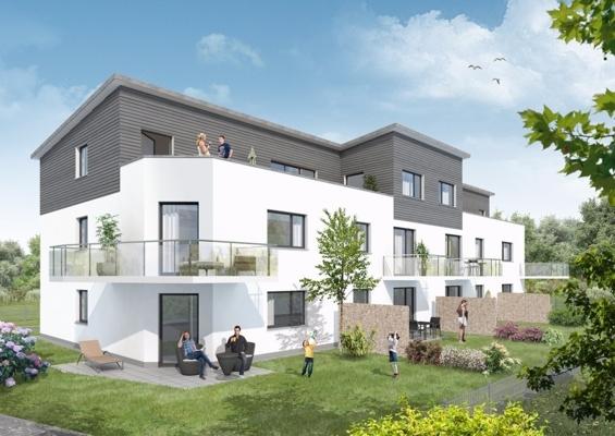 Blick auf den Wohnkomplex am Tag