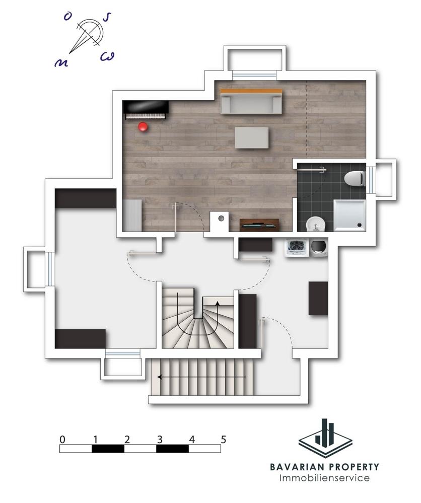Kellergeschoss (dem Grundriss ist lediglich die Raumaufteilung zu entnehmen, das Badezimmer ist noch nicht ausgebaut)