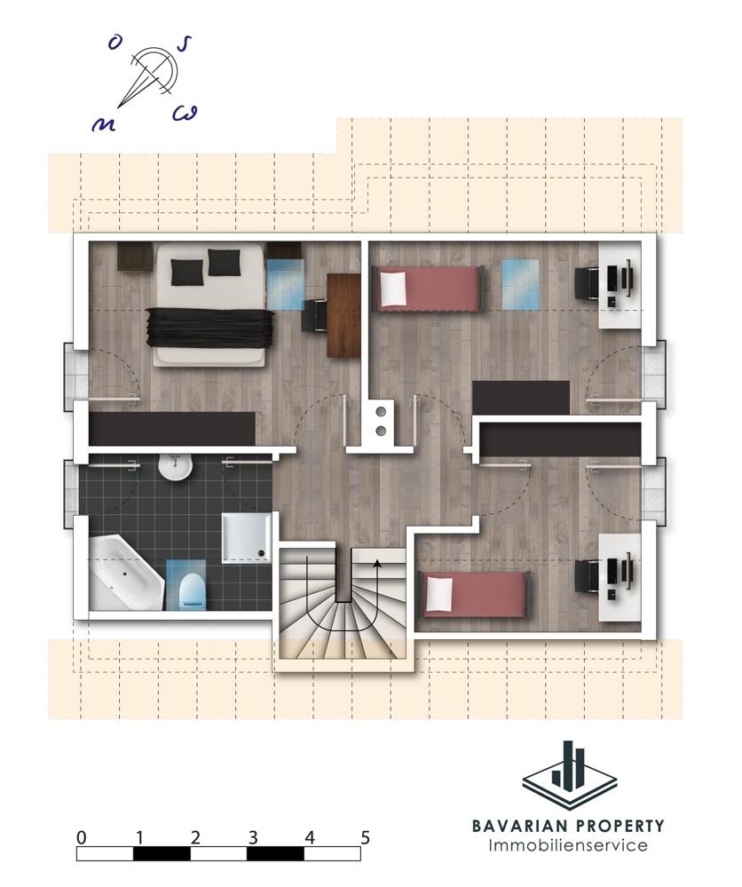 Obergeschoss (dem Grundriss ist lediglich die Raumaufteilung zu entnehmen)