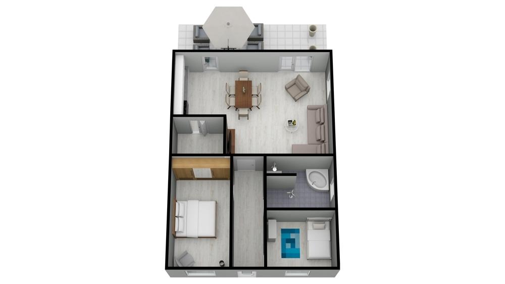 Grundriss 3D Eckhaus rechts