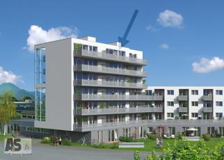 Fotomontage Kainz Ansicht mit Balkonen und Pfeil