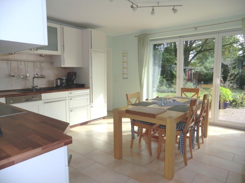 Moderne Wohnküche mit Gartenzugang