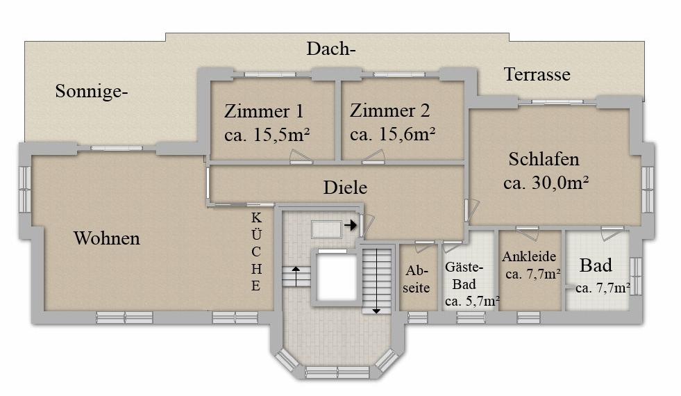Grundriss des Penthouse