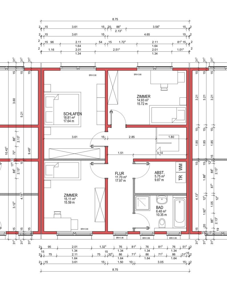 Grundriss 1. Obergeschoss AH++