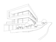 Perspektivische Ansicht des Gebäudes