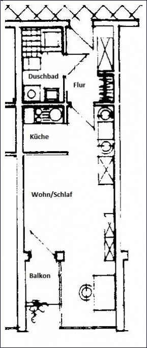Grundriss Beispiel 1-Zimmer