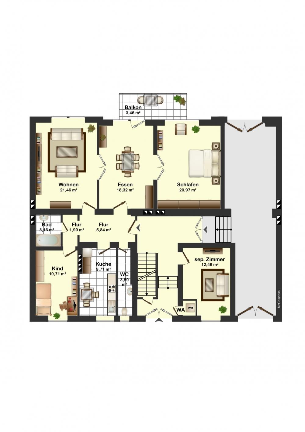 Grundriss der Etage