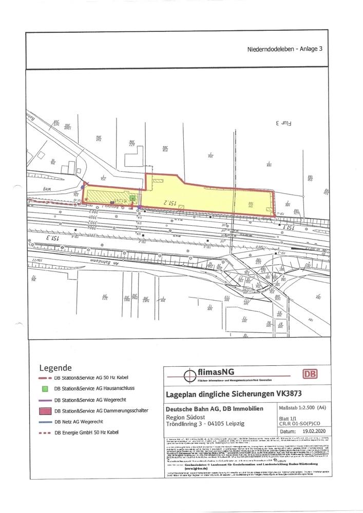 Lageplan mit Bahnanlagen dingl Sicherungen