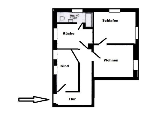 3 Zimmer Wohnung Grundriss