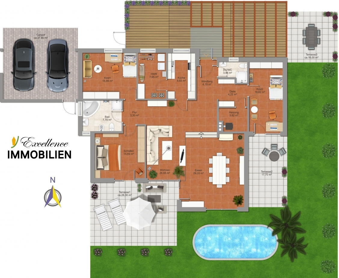 Grundriss mit Terrassen und Teich
