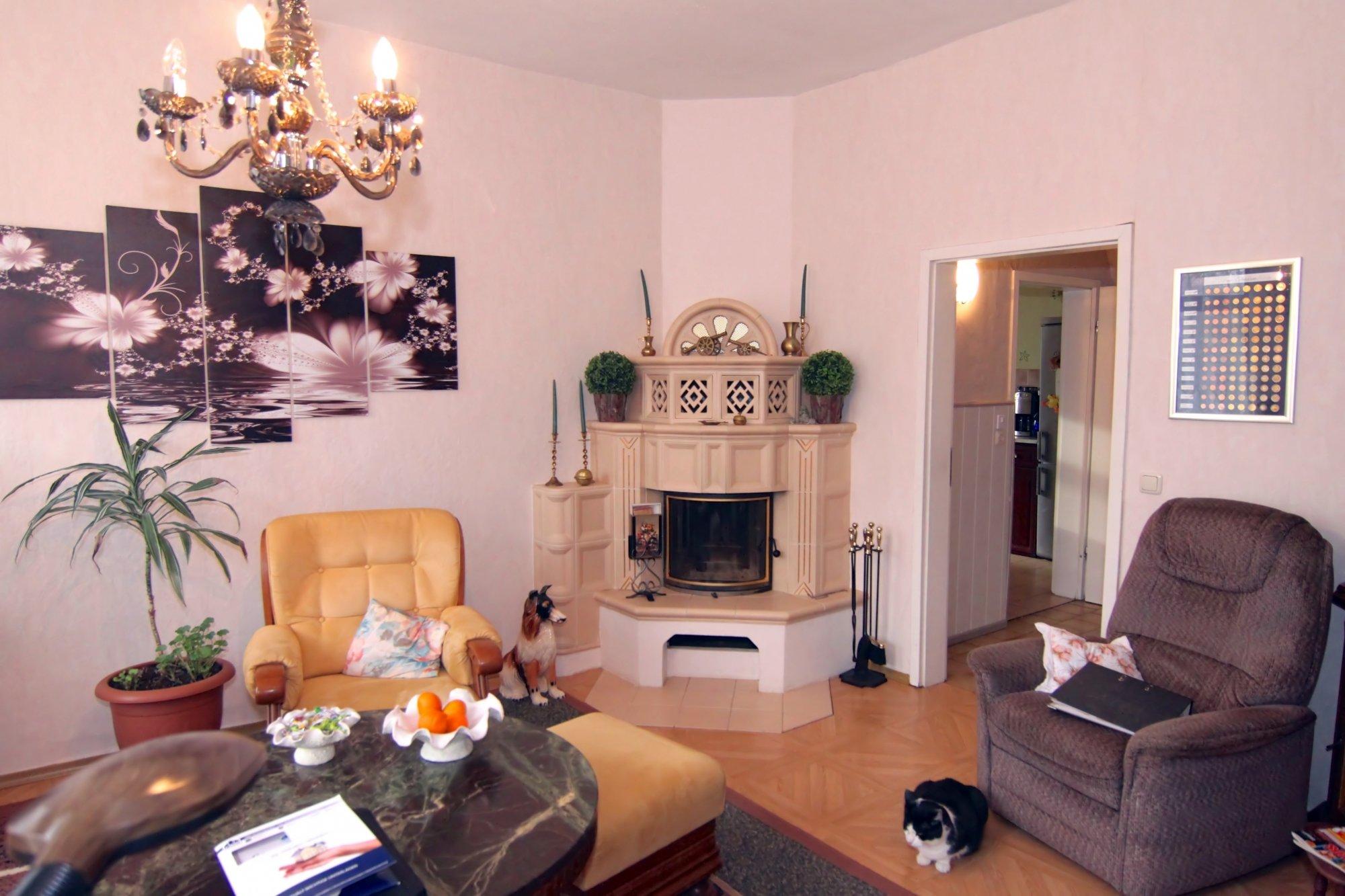 Wohnzimmer mit schicken Kamin