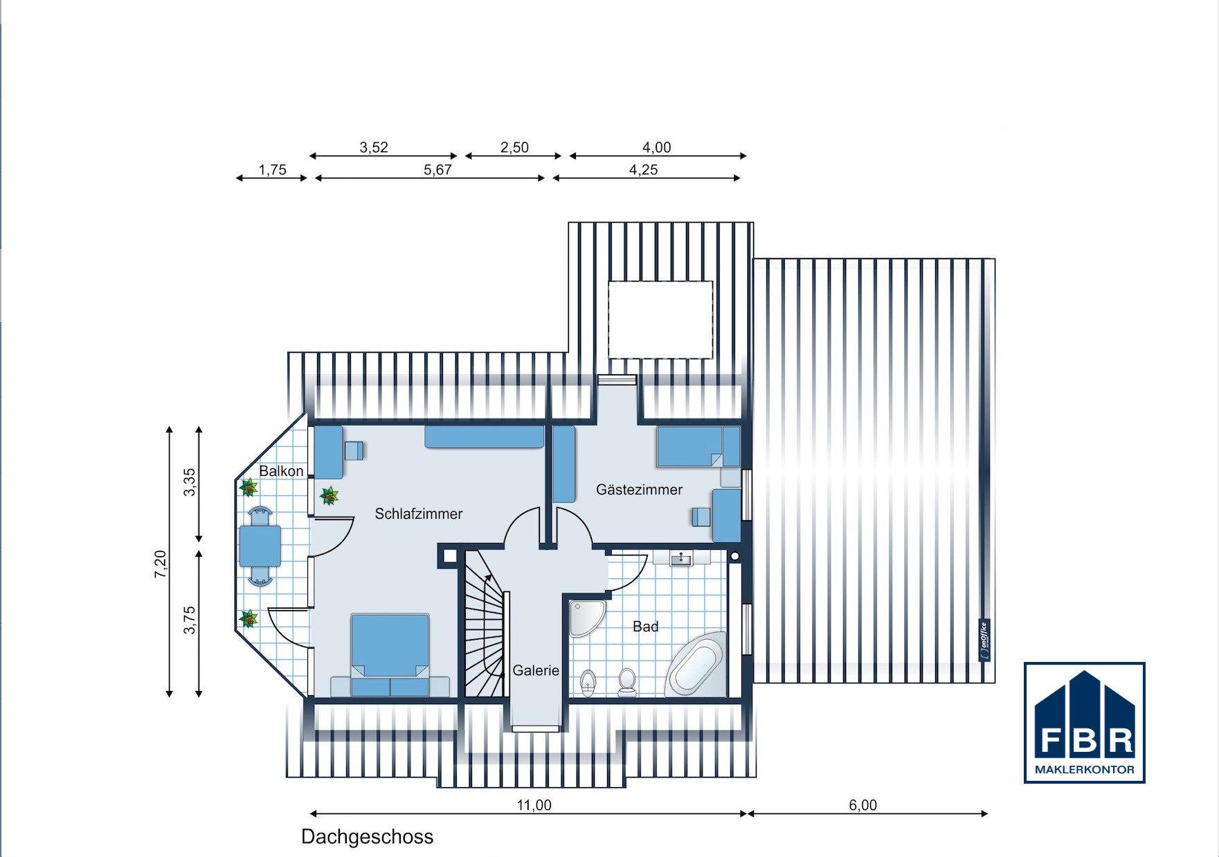 Möbliervorschlag Obergeschoss mit möglichem Balkon