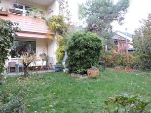 Blick vom Garten zur Terrasse