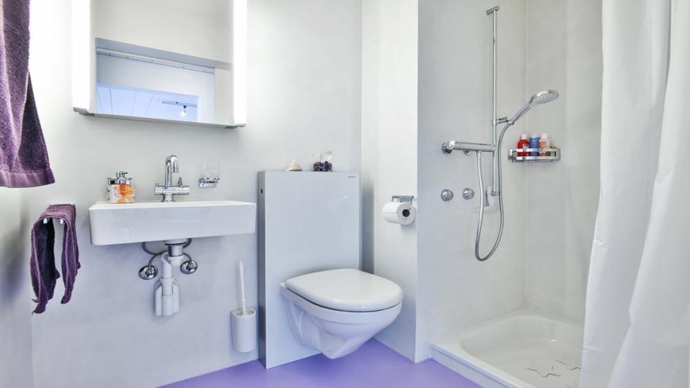 Moderne Dusche/WC.