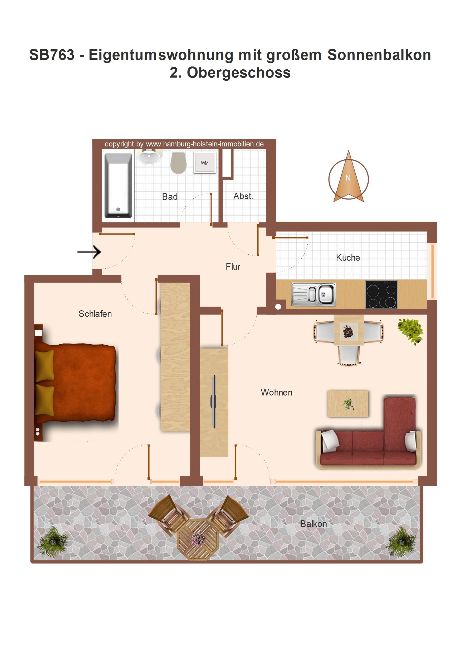 Wohnung mit Südbalkon