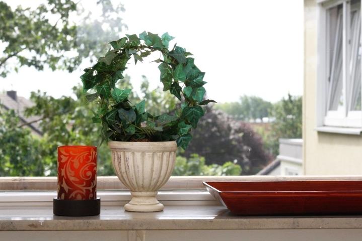 Aussicht vom Balkon ins Grüne