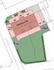 Lageplan mit möglicher Bebauung und angepasstem Grundstück