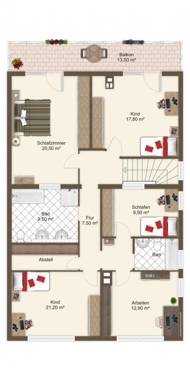 Grundriss OG Einfamilienhaus