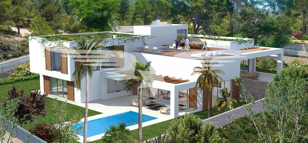 Visualisierte Außenansicht mit Pool