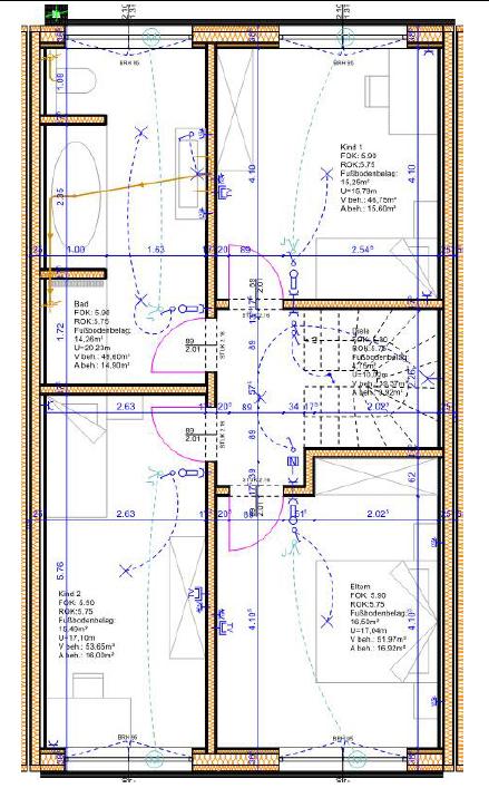 Grundriss 1. OG Reihenmittelhaus HS 99