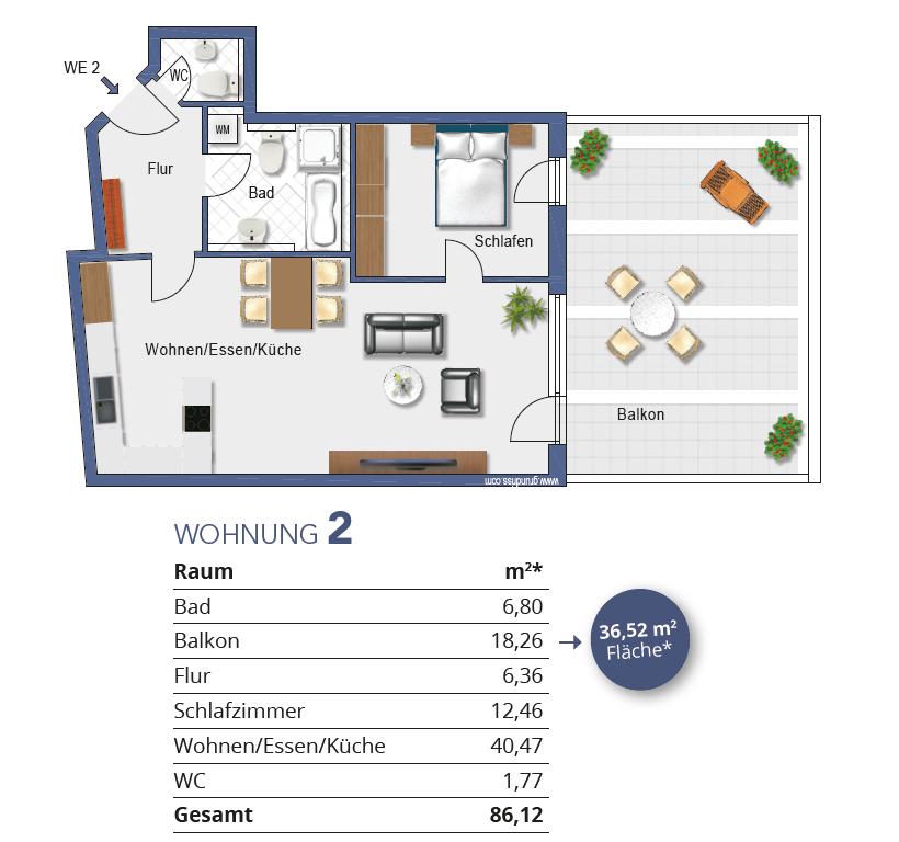 Grundriss Wohnung 2 I