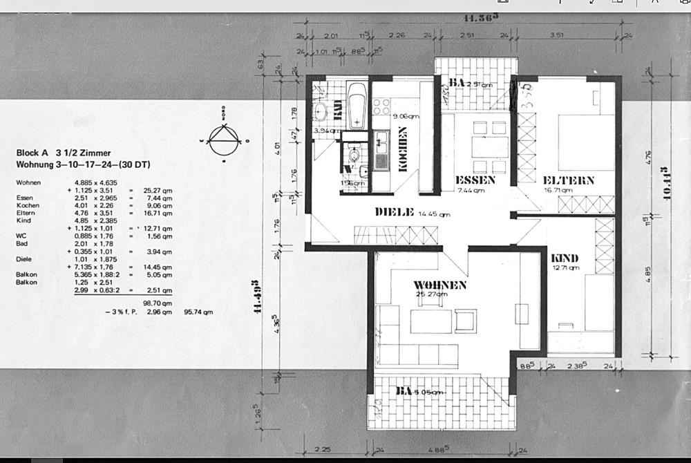 Plan Wohnung mit WF Berechnung