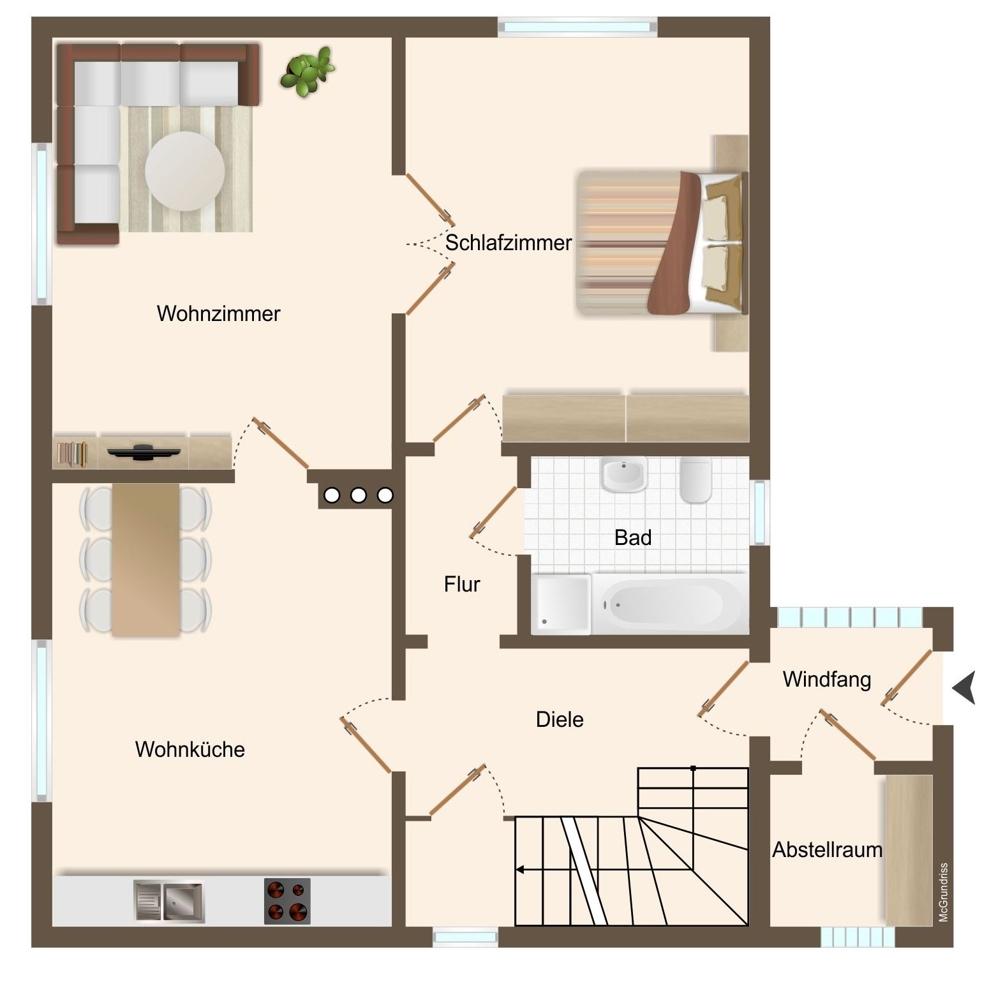 Grundriss Erdgeschoss (nicht maßstabsgetreu)