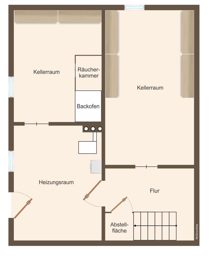 Grundriss Kellergeschoss (nicht maßstabsgetreu)