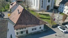 Luftbild von der Dorfplatzseite