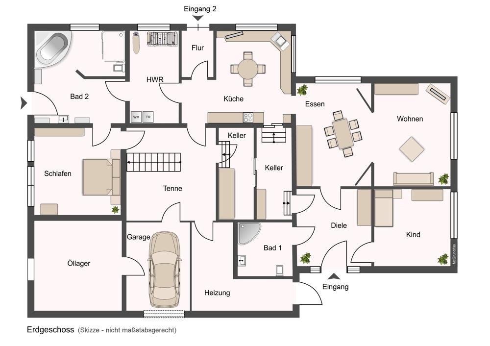 Grundrissskizze Erdgeschoss, ohne Maßstab