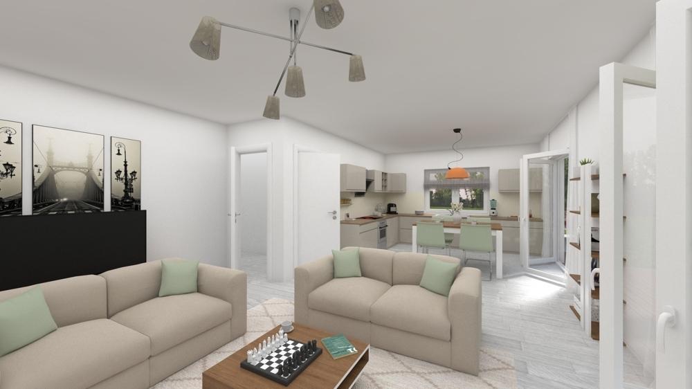offener Wohn- Küchenbereich