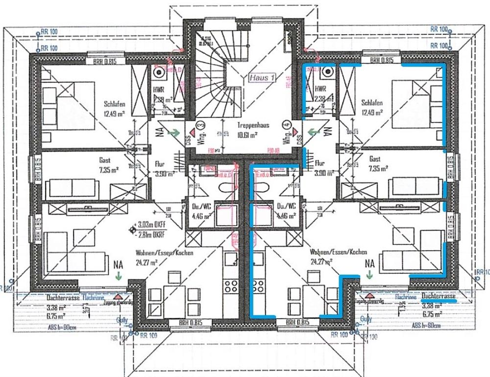 Grundriss Dachgeschoss-Wohnung rechts (Whg. 4)