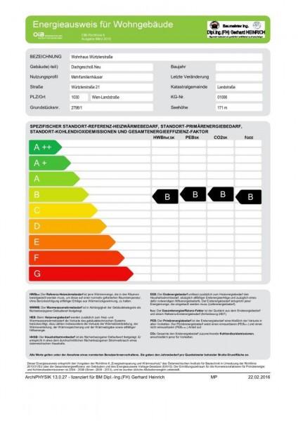 Energieausweis - Dachgeschoß