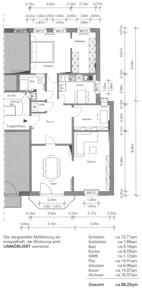 Grundriss mit Flächenangaben