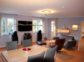 Blick von der Küche in das großzügige Wohnzimmer