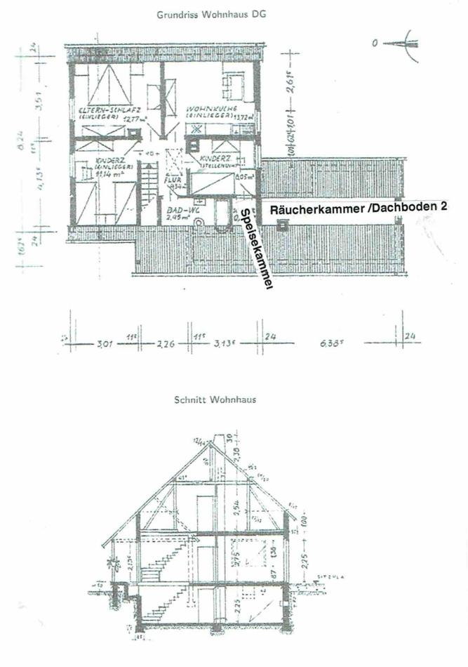 bestehendes Wohnhaus Dachgeschoß und Geba_udequerschnitt