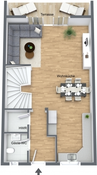 Erdgeschoss Reihenmittelhaus