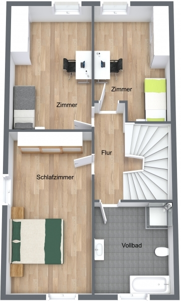 Obergeschoss Reihenendhaus